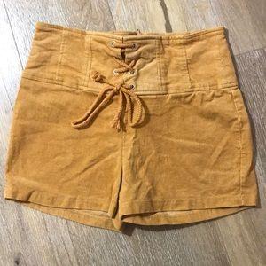 HAVE orange corduroy high waist tie shorts